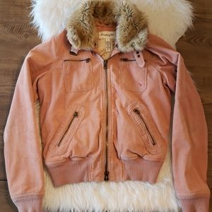 Abercrombie & Fitch Pink Bomber Corduroy Jacket L